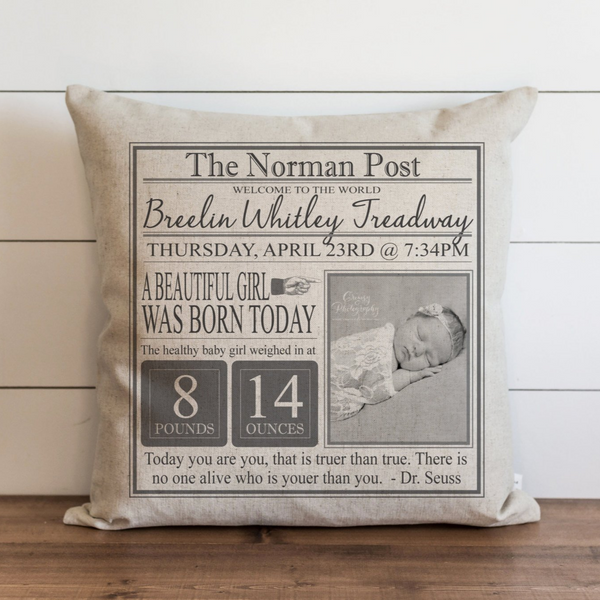 Newsprint Baby Stat Pillow Cover. - Porter Lane Home