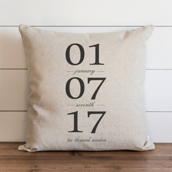 Customized Date Pillow Cover. - Porter Lane Home