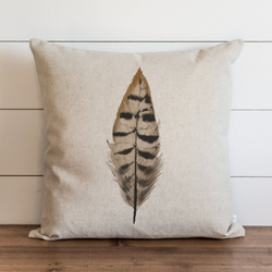 Watercolor Feather Pillow Cover.