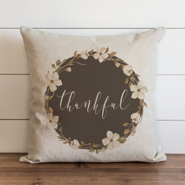 Fall Wreath_ Thankful Pillow Cover. - Porter Lane Home