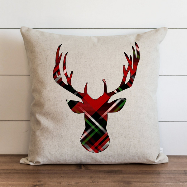 Tartan Deer Pillow Cover. - Porter Lane Home