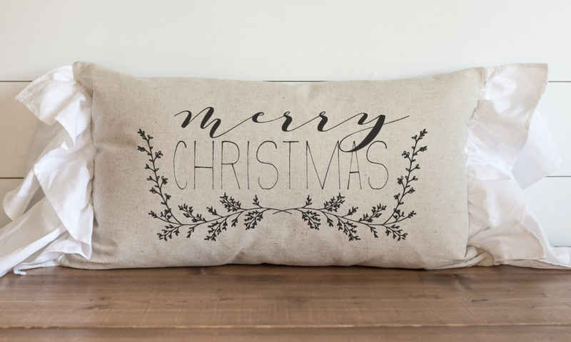 Merry Christmas Garland Pillow Cover. - Porter Lane Home