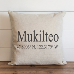 Personalized Coordinates Pillow Cover. - Porter Lane Home