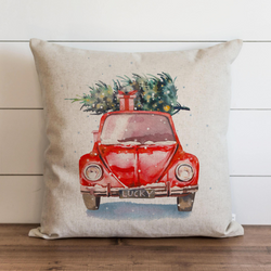 Watercolor Christmas Car Pillow Cover.