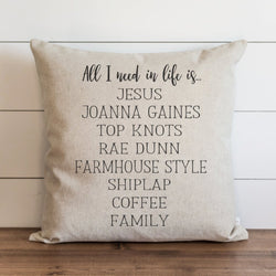 All I Need in Life {Coffee} Pillow Cover - Porter Lane Home