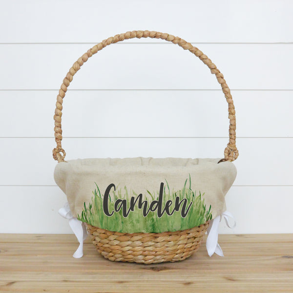Grass Personalized Easter Basket Liner - Porter Lane Home