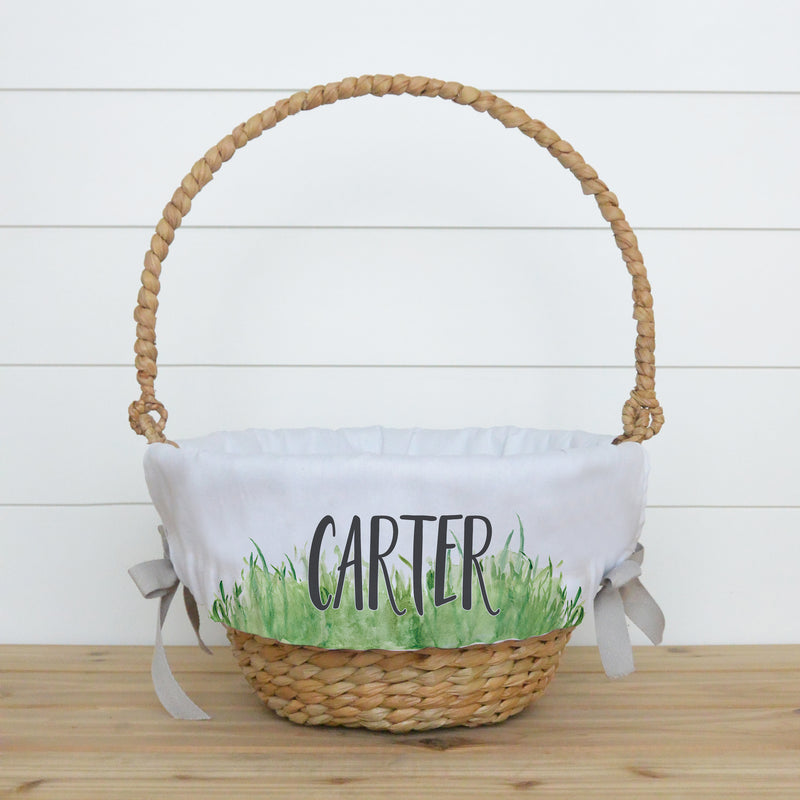 Green Grass Personalized Easter Basket Liner - Porter Lane Home