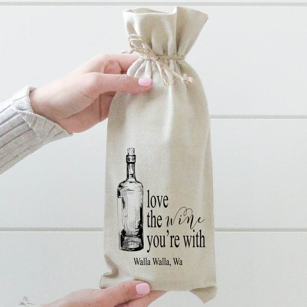 Custom Location Love The Wine You're With Wine Bag - Porter Lane Home