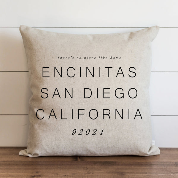 Custom There's No Place Like Home Location Pillow Cover. - Porter Lane Home