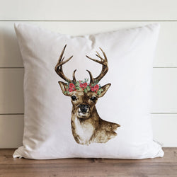 Deer with Floral Crown Pillow Cover. - Porter Lane Home