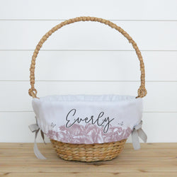 Mauve Floral Personalized Easter Basket Liner - Porter Lane Home