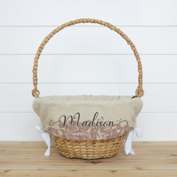 Floral Personalized Easter Basket Liner - Porter Lane Home