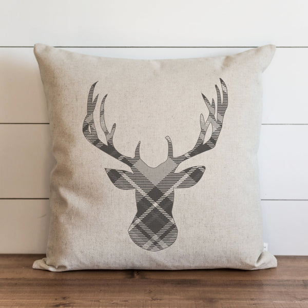 Gray Plaid Deer Pillow Cover. - Porter Lane Home