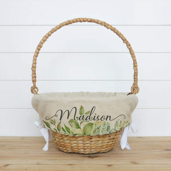 Greenery Personalized Easter Basket Liner - Porter Lane Home