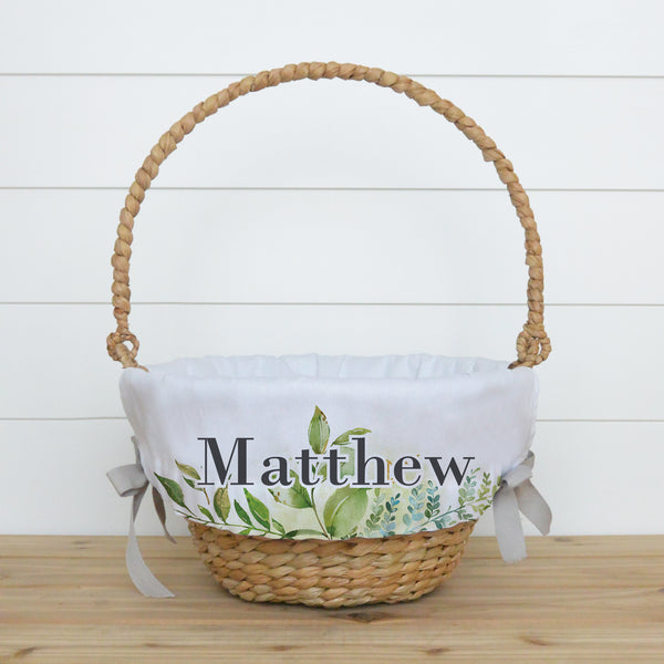 Leaves Personalized Easter Basket Liner - Porter Lane Home