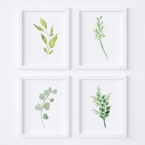 Watercolor Foliage {Style 2} Wall Art Set
