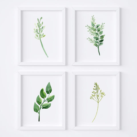 Watercolor Foliage {Style 1} Wall Art Set