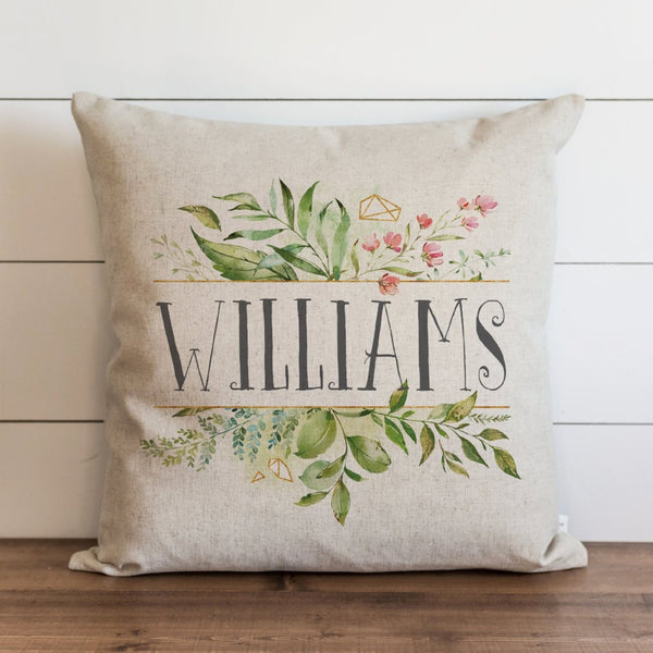 Custom Name Floral Frame Pillow Cover. - Porter Lane Home