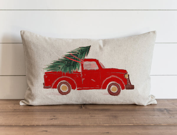 Christmas Truck Red Pillow Cover.