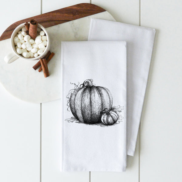 Pumpkin Sketch Tea Towel