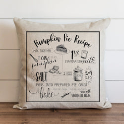 Pumpkin Pie Recipe Pillow Cover - Porter Lane Home