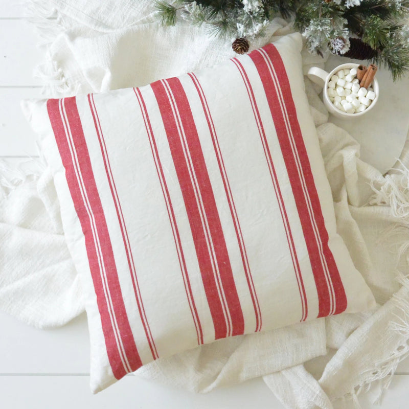 Cabana Stripe Pillow Cover {Red} - Porter Lane Home