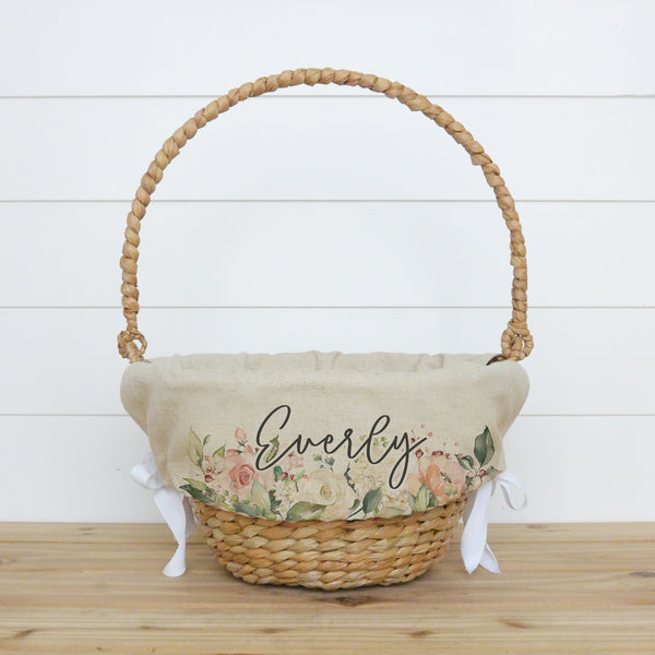 Rose Floral Personalized Easter Basket Liner - Porter Lane Home