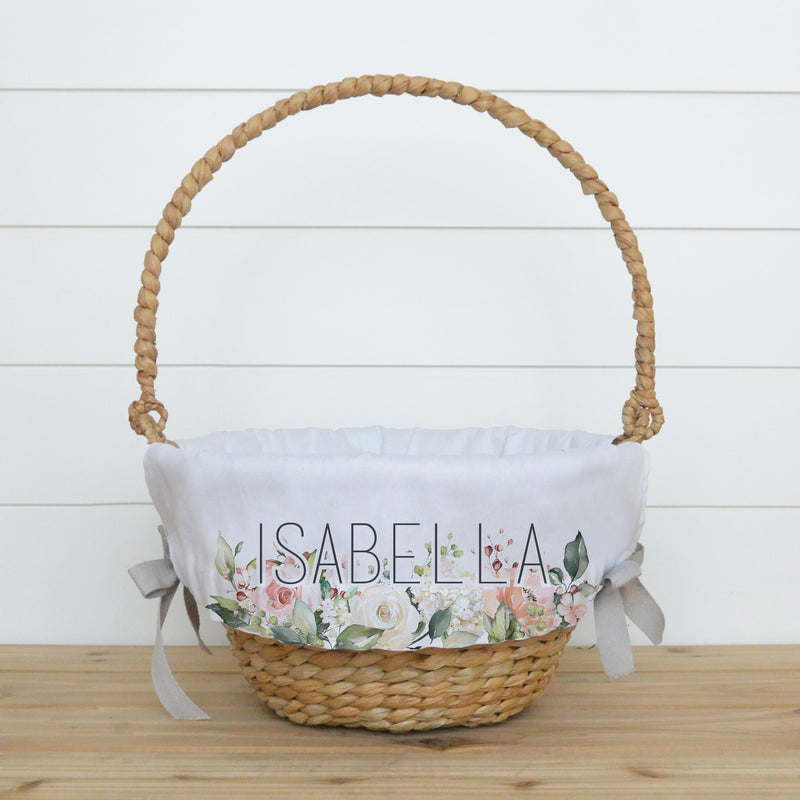 Rose Bouquet Personalized Easter Basket Liner - Porter Lane Home