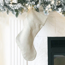 Natural Linen Christmas Stocking - Porter Lane Home