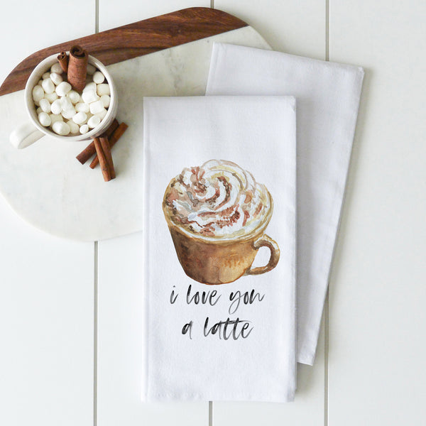 I Love You A Latte Tea Towel