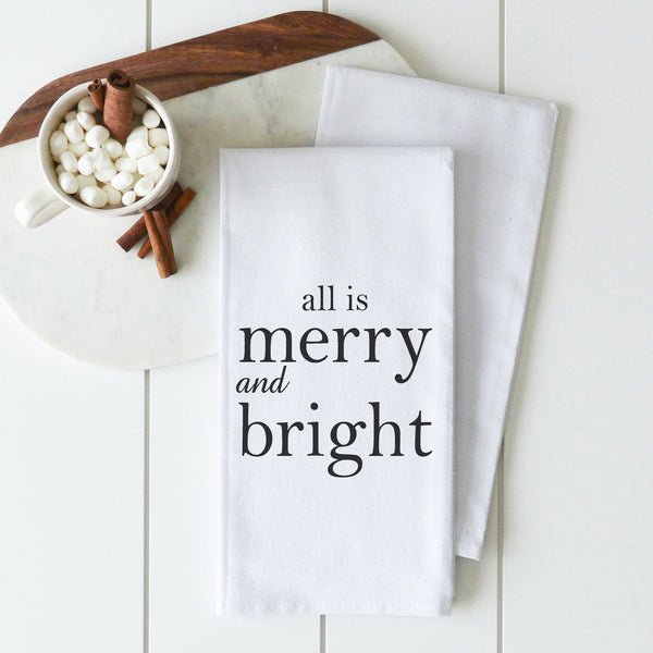 All Is Merry Tea Towel