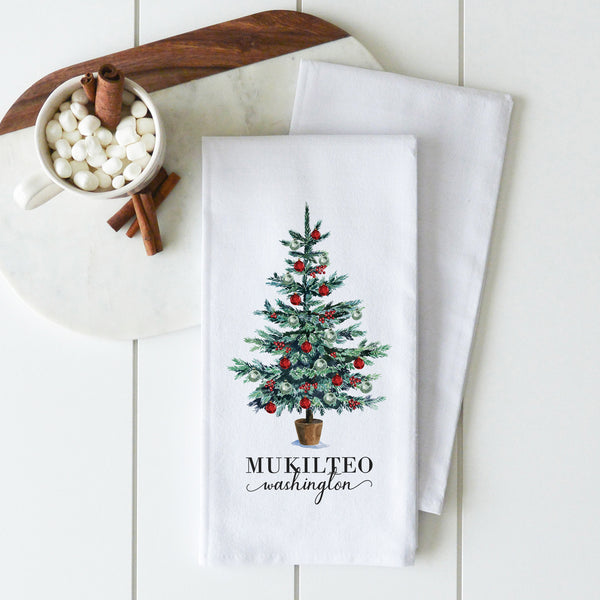 Christmas Tree {Custom Location} Tea Towel
