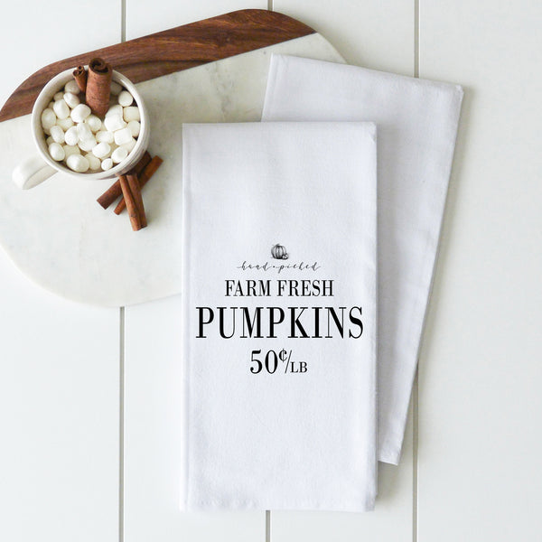 Hand Picked Pumpkins Tea Towel