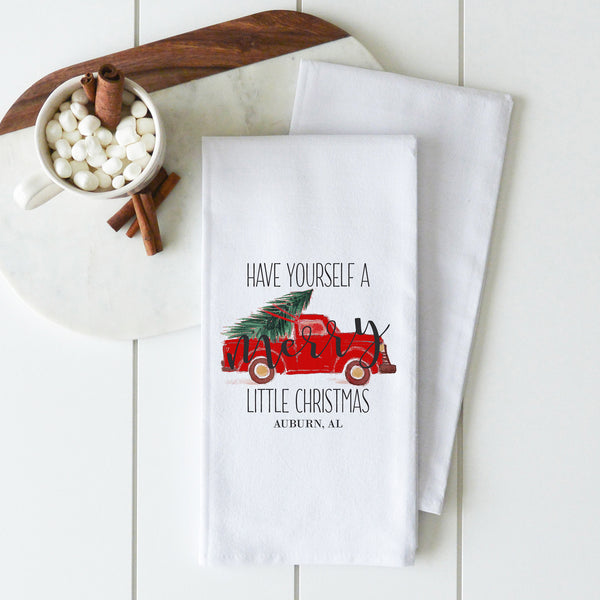 Merry Little Christmas {Custom Location} Tea Towel
