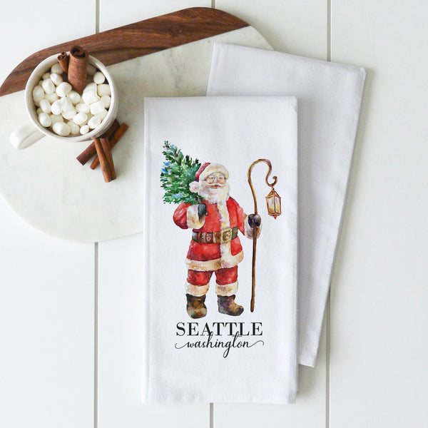Santa {Custom Location} Tea Towel