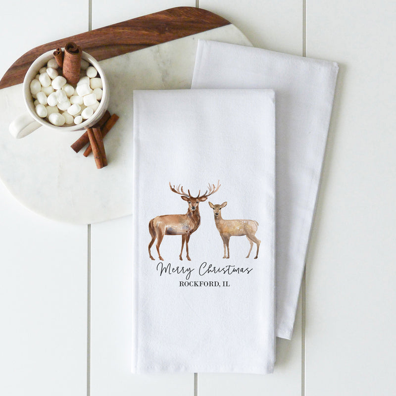 Stag And Doe {Custom Location} Tea Towel