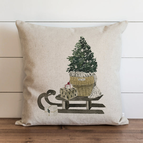 Tree & Sleigh Pillow Cover. - Porter Lane Home