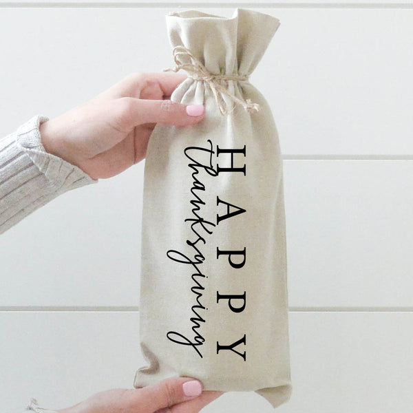 Happy Thanksgiving Wine Bag - Porter Lane Home