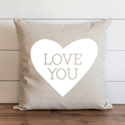 Love you {White Heart} Pillow Cover. - Porter Lane Home