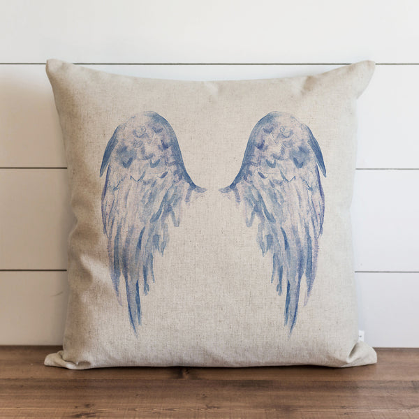 Watercolor Angel Wings {Blue} Pillow Cover. - Porter Lane Home