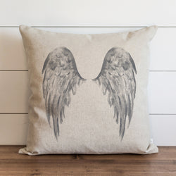 Watercolor Angel Wings {Gray} Pillow Cover. - Porter Lane Home