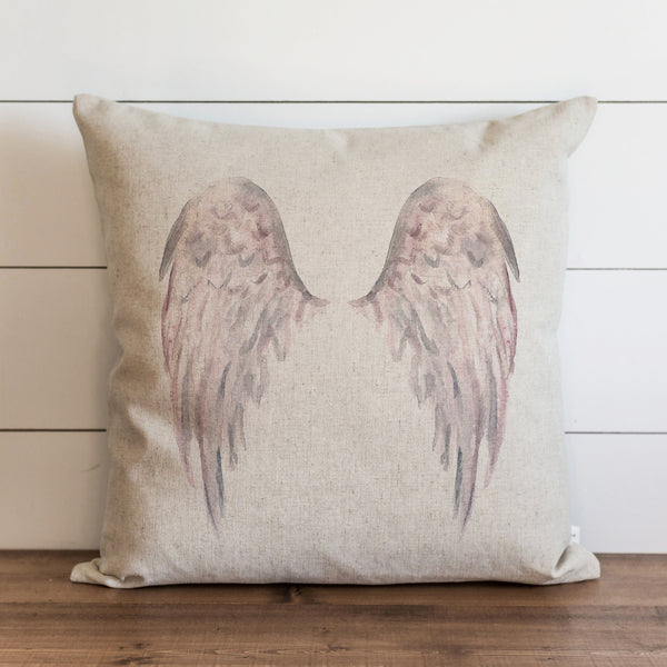 Watercolor Angel Wings {Pink} Pillow Cover.