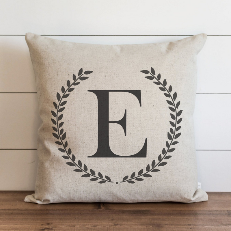 Laurel Wreath Monogram Pillow Cover. - Porter Lane Home