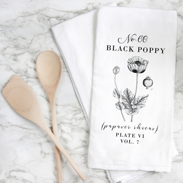 Botanical Black Poppy Tea Towel - Porter Lane Home