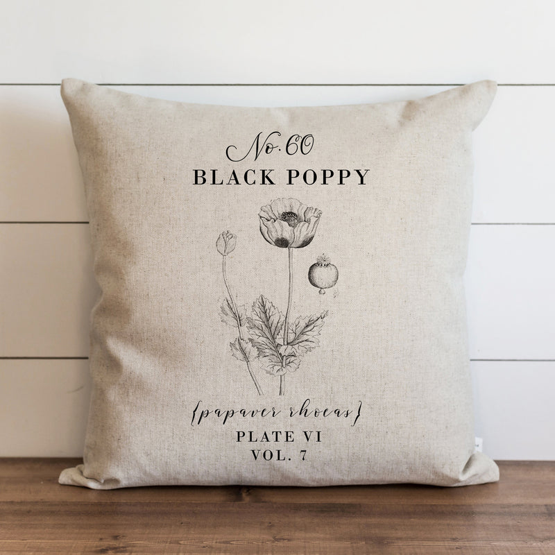 Botanical Black Poppy Pillow Cover. - Porter Lane Home