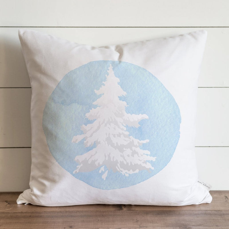 Blue Flocked Tree Pillow Cover. - Porter Lane Home