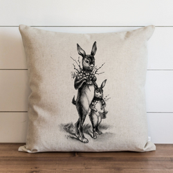 Vintage Bunnies Pillow Cover.