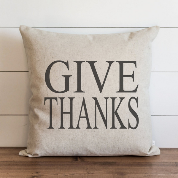 Give Thanks_CAPS Pillow Cover. - Porter Lane Home
