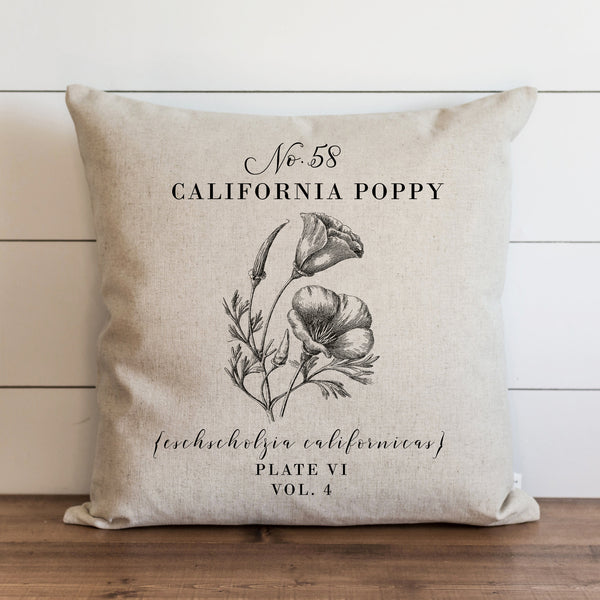 Botanical California Poppy Pillow Cover. - Porter Lane Home
