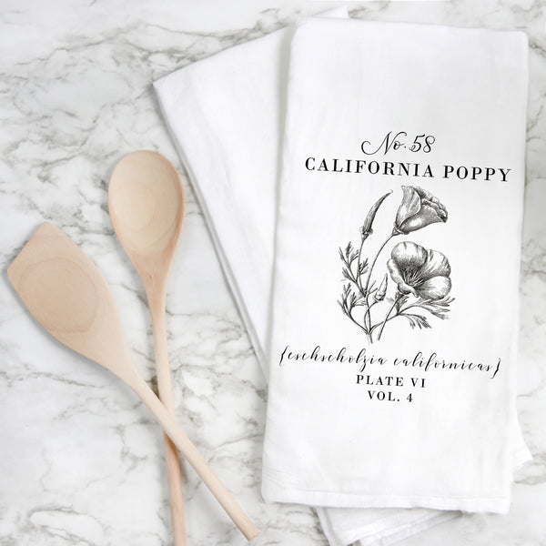 Botanical California Poppy Tea Towel - Porter Lane Home